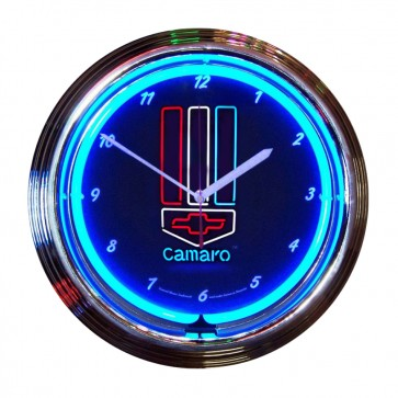 Camaro Red, White and Blue Neon Clock