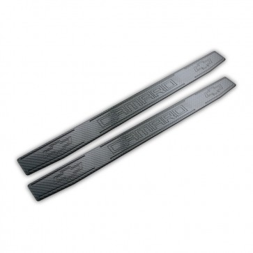Camaro OEM Door Sills with Carbon Fiber Finish – Camaro & Bowtie Logos