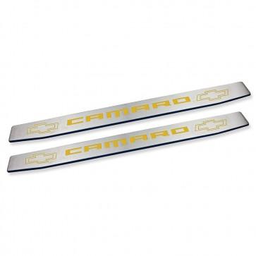 Gen-6 Camaro Door Sills - Bowtie Logo