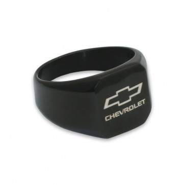 Chevy Bowtie Stainless Steel | Black Signet Ring