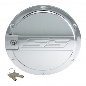 Camaro Locking Fuel Door - SS Logo-Chrome