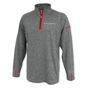 Laser Accent Quarter-Zip Fleece - Gray/Red