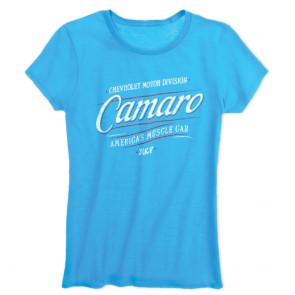 Ladies American Muscle Car Tee - Caribbean Blue