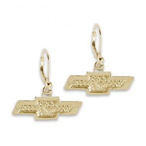 Chevy Bowtie 14k Yellow | Gold Leverback Earrings