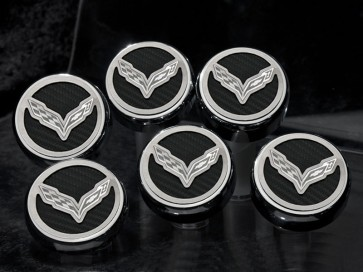 Corvette Stingray Carbon Fiber Fluid Cap Cover Set (Manual)