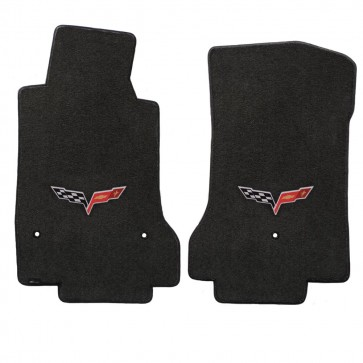 Corvette 2007.5-2013.5 2Pc Mats Ebony Velourtex C6 Logo