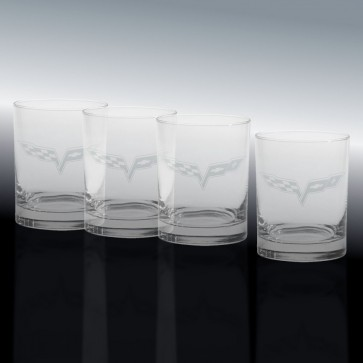 C6 Crossed Flags - Double Old-Fashioned - Glass