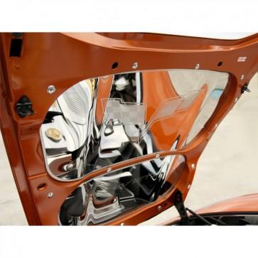 Corvette C6 Crossed Flags Hood Panel - Polished Stainless Steel