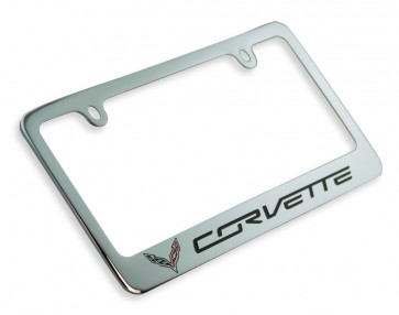 Crossed Flags Corvette License Plate Frame - Chrome