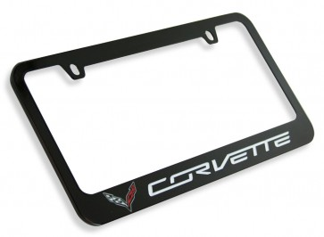 Crossed Flags Corvette License Plate Frame - Black