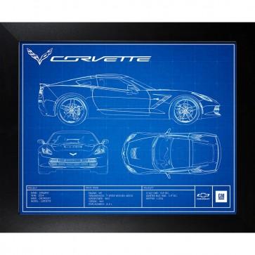 Corvette C7 | Blueprint Framed Artwork