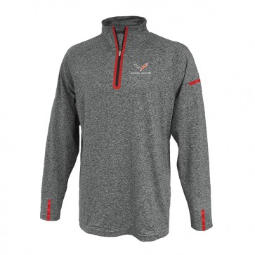 Laser Accent Quarter-Zip Fleece - Heather Gray
