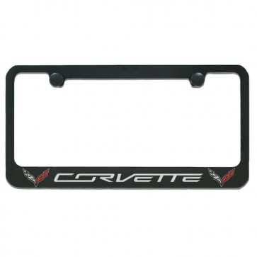 C7 Double Logo License Plate Frame - Black Gloss