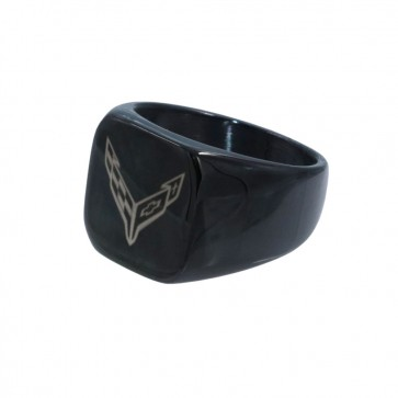 C8 Corvette Black | Stainless Steel Signet Ring