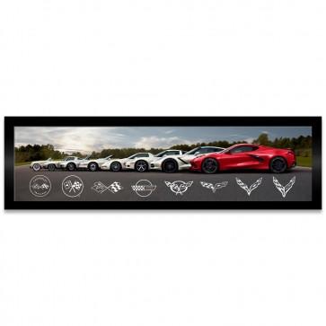 Corvette 8 Generations | Framed Canvas Print