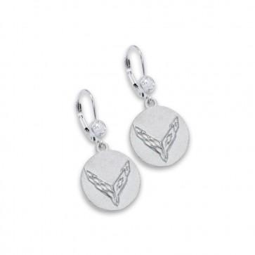 C8 Corvette Sterling Silver   CZ Earrings