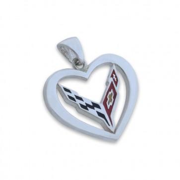 C8 Corvette Sterling Silver | Heart Pendant