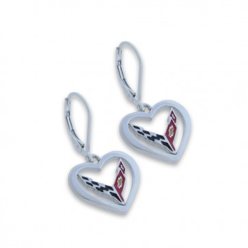 C8 Corvette Sterling Silver | Heart Earrings
