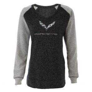 Bling V-Neck Pullover | Heathered Black/Gray