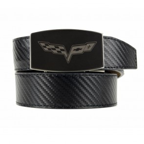 C6 Carbon Fiber Pattern | Custom-Fit Leather Belt | Black Buckle