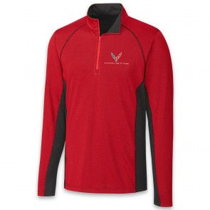 C8 Corvette Colorblock | Half Zip - Red/Black