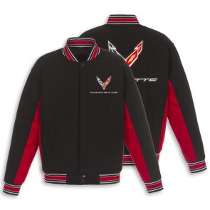 C8 Reversible Varsity Jacket | Black/Red
