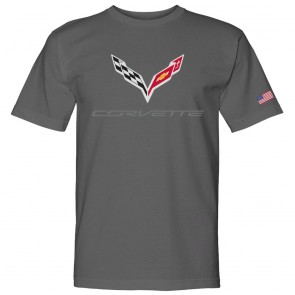 C7 Corvette USA Made | Crossed Flags Charcoal Tee