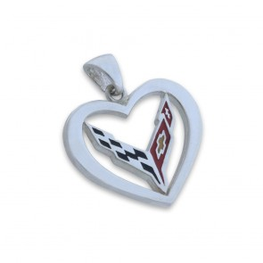 C8 Corvette Sterling Silver   Heart Pendant