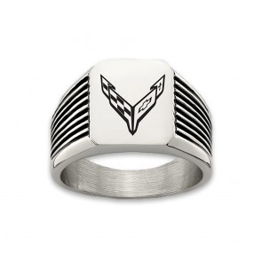 C8 Corvette Stainless Steel | Grooved Emblem Ring