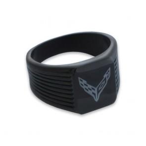 C8 Corvette Emblem | Black Grooved Signet Ring