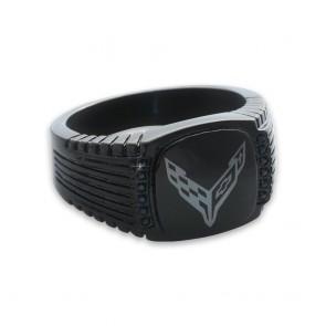 C8 Corvette Emblem | Black CZ Signet Ring