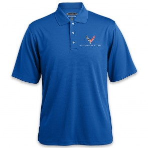 C8 Horizontal Textured Polo | Cobalt Blue