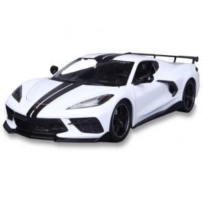1:18 Scale C8 Corvette | White/Black Stripe