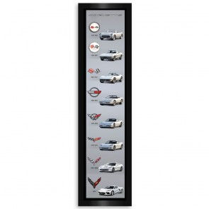 Corvette C8 Generations | Vertical Framed Canvas Print