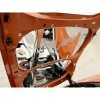 Corvette C6 Crossed Flags Hood Panel - Polished Stainless Steel