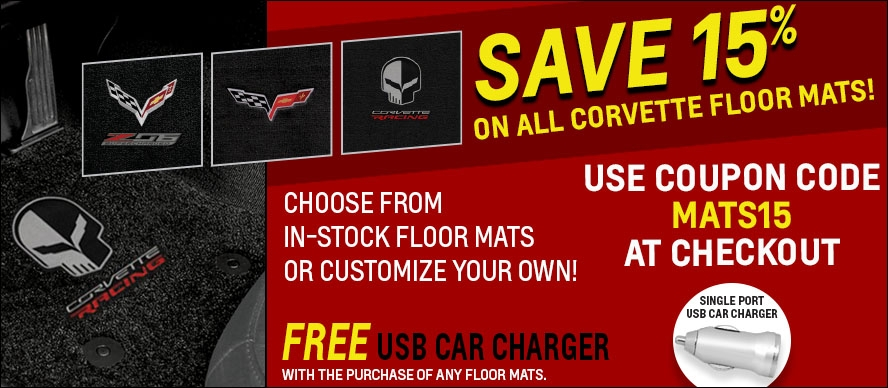 FREE GIFT with any Corvette Racing Mat Purchase - Use Code MATS15 at Checkout