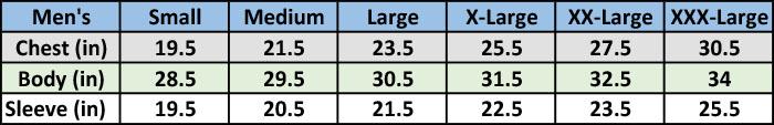 Size Chart NSX Polo